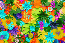Colorful Tropical Paper Flower Background. Multicolored Flowers And Leaves Made Of Paper