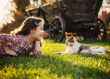 Cute Little Girl Smiling To A ...