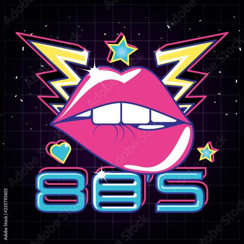 lips pop art eighties style