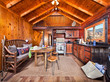 Living area in wooden cabin