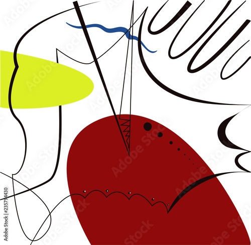Fototapety, obrazy: Abstract vector artwork, inspired by Spanish painter Joan Miro