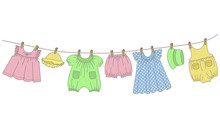 Baby Clothes Hang On The Clothesline. Things Are Dried On Clothespins After Washing. Vector Illustration On A White Background