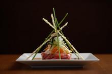 Close Up Of Garnished Sashimi On Plate