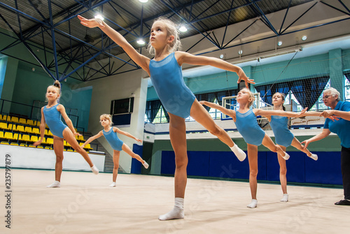 In de dag Gymnastiek little girls doing exercise in gym