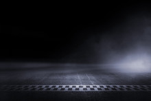 Abstract Race Track Finish Line Racing On Light Night