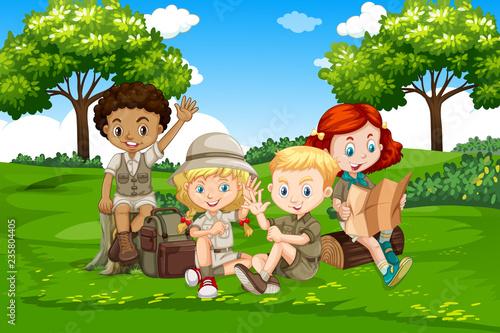 Canvas Prints Kids International camping kids in nature