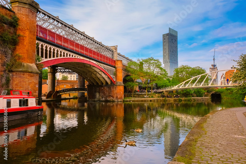 Castlefield, inner city conservation area in Manchester, UK Canvas Print