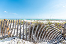 Destin, USA Miramar Beach City Town Village Day In Florida Panhandle Gulf Of Mexico Ocean Water, Wooden Wired Fence, Planks, Wires, Nobody