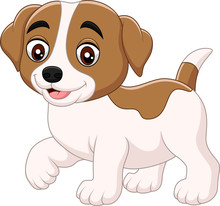Cute Little Dog Cartoon Isolated On White Background