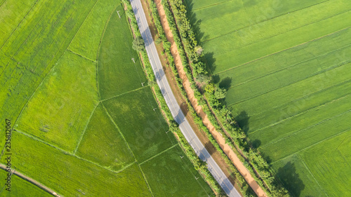 Fotobehang Rijstvelden Aerial view of beautiful county road with terraced rice field in Thailand