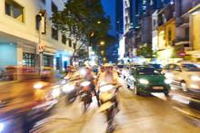 Traffic At Night In Vietnam
