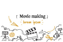 Cinema Movie Making Concept Sketch Doodle Horizontal Isolated Copy Space