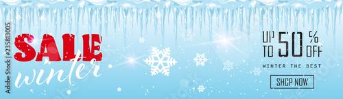 Fotografie, Obraz winter sale banner design frozen icicles season shopping template special discou