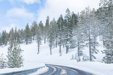 Icy Mountain Road Through Forest In Winter