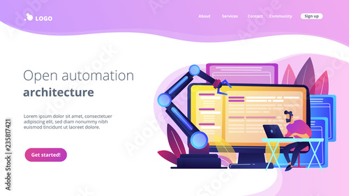 Photo Open automation architecture, open source robotics soft, free development concept