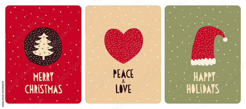 Fototapety, obrazy: Set of 3 Cute Christmas Vector Card. Christmas Tree with Green Stars, Red Heart and Santa Hat. Hand Written Merry Christmas, Peace and Love, Happy Holidays. Red, Beige and Green Backgrounds.