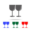 Two glasses of wine icon. Elements of love in multi colored icons. Premium quality graphic design icon. Simple icon for websites, web design, mobile app, info graphics