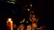Decorative Christmas Display at Home with Flasing Gold Fariy Lights