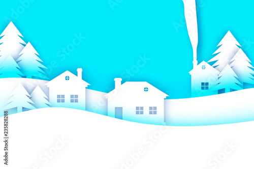 Spoed Foto op Canvas Turkoois Merry Christmas and Happy New Year Greetings card. Origami Winter Snow Landscape Village with blue sky. City Urban Countryside with forest in paper cut style. Holidays
