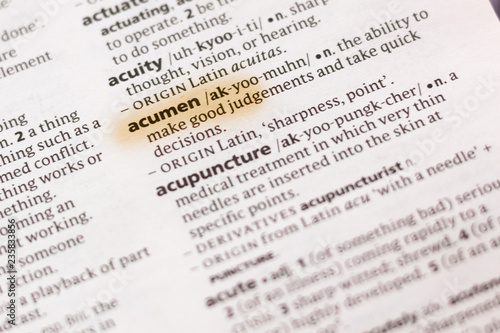 The word or phrase Acumen in a dictionary. Wallpaper Mural