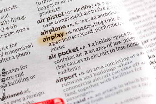 The word or phrase Airplay in a dictionary. Canvas Print