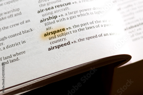 Photo The word or phrase Airspace in a dictionary.