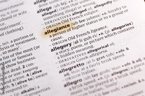 The word or phrase Allegiance in a dictionary. Canvas Print