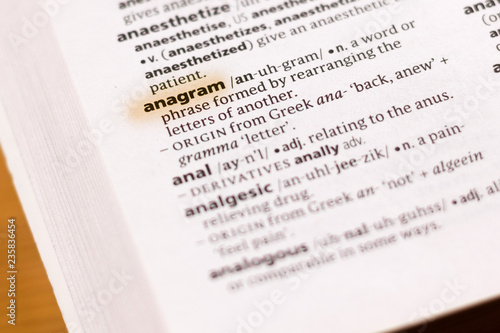 The word or phrase Anagram in a dictionary. Wallpaper Mural