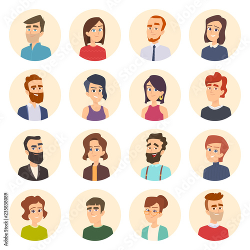 Business Avatars Colored Web Pictures Of Male And Females Office Managers Vector Portraits In Cartoon Style Illustration Of Human Face Avatar Portrait Person Business Manager Cartoon Buy This Stock Vector And