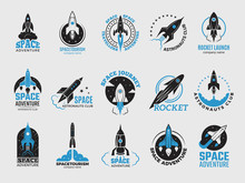 Rocket Logo. Space Satelite Re...