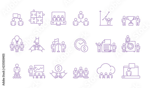 Coworking team group icon. Coordinate working business people management team building together helping vector outline pictures. Team group, leadership and partnership coworker illustration