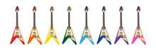 ベクター クリップアート ギター フライングV 8色
