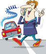 A man crossing the road while talking on the phone without noticing a car