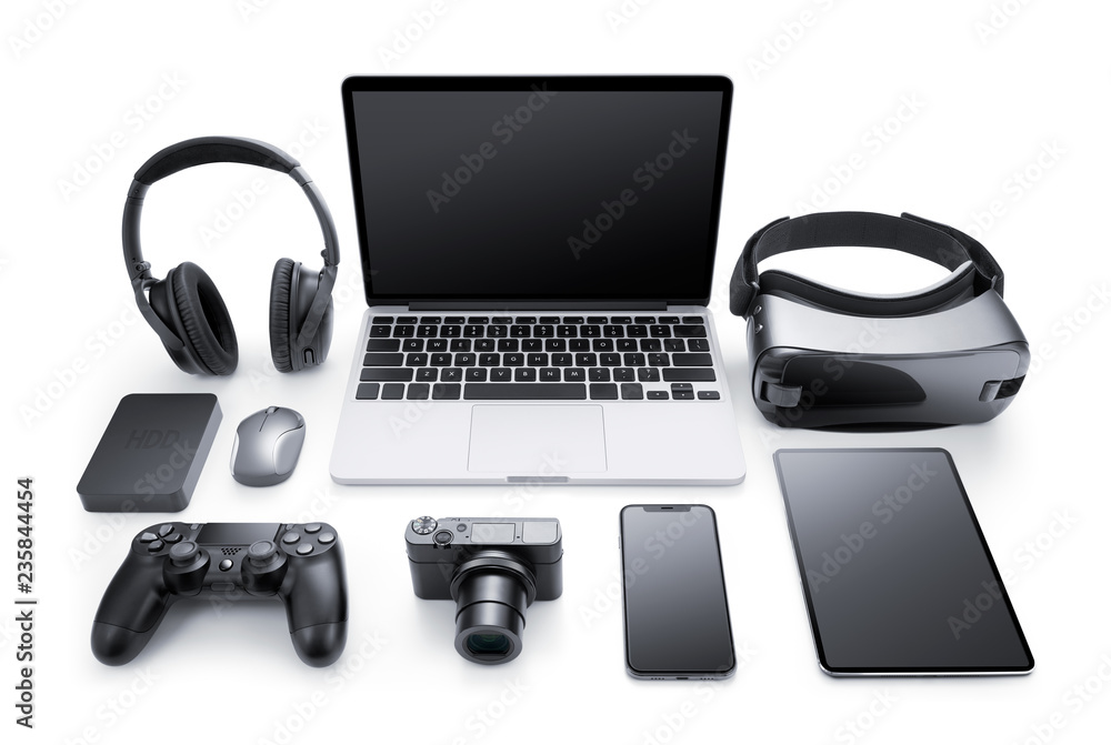 Fototapety, obrazy: Gadgets and accessories isolated on white background