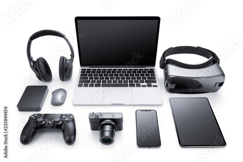 Gadgets and accessories isolated on white background