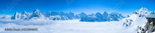 Photo  Stunning Panoramic view of snow mountain the Swiss Skyline from Schilthorn, Swit