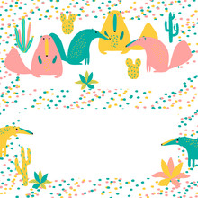 Vector Rose Yellow Blue Ant-eater Animal And Cactus Plant Of South America Invitation Card  On White For Stickers Paper Cloth