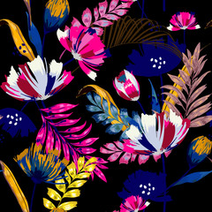 Fototapeta Egzotyczne A dark summer night Trendy vector seamless beautiful artistic tropical pattern with exotic forest. Forest original stylish floral background print