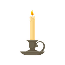 Burning Candle In A Vintage Candle Holder, Candlestick Vector Illustration On A White Background