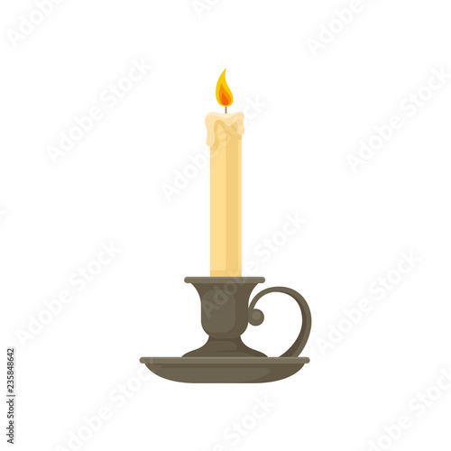 Obraz na plátně Burning candle in a vintage candle holder, candlestick vector Illustration on a
