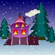 House in snowfall. Christmas greeting card background poster.