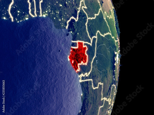 Fotografie, Obraz  Satellite view of Gabon at night with visible bright city lights