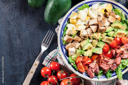 Spoed Foto op Canvas Buffet, Bar Healthy cobb salad with chicken