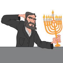 Old Jewish Man Holding Menorah In His Hand