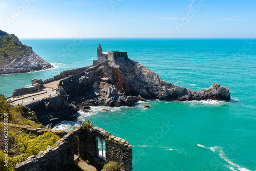 Fototapeta San Pietro Church view from Doria castle, Portovenere, Italy
