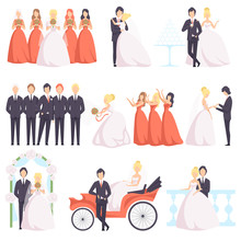 Wedding Couple Celebrating With Their Friends Set, Bride And Groom, Bridesmaids, Groomsmen At A Wedding Ceremony Vector Illustration On A White Background
