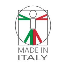LOGO MADE IN ITALY CON UOMO DI VITRUVIO STILIZZATO