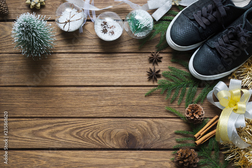 Flat Lay Black Sneaker Mini Christmas Tree Gold And Silver Bows