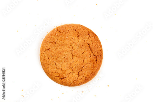 An overhead photo of a single ginger cookie on a white background with crumbs Wallpaper Mural