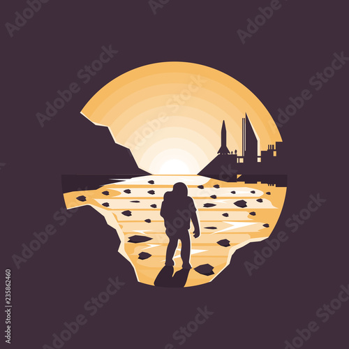 Mars colonization futuristic landscape with colony base and astronaut Poster Mural XXL